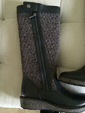 AETREX SUNDANCE AMBER BLACK LEATHER KNEE HIGH PLATFORM HEEL BOOTS 6.5  36 MINT