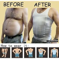 FIRM CONTROL MEN WAIST SLIMMING BELLY TUMMY TRIMMER SHAPING VEST SHAPEWEAR SHIRT