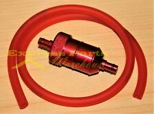 Red Aluminum Fuel Filter With Fuel Line Gas Hose For Small Engines ATV, Bikes.