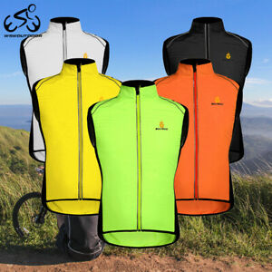 Windproof Cycling Vest Men Bike Reflective Gilet Waistcoat Mesh Back Breathable