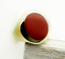 Ring Men's Seal Ring with Red Carnelian Geniune Gold Yellow Gold 333 8K Size 71