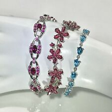 **3 NEW ITEMS** RED RUBY PINK SAPPHIRE BLUE TOPAZ STERLING 925 SILVER BRACELETS