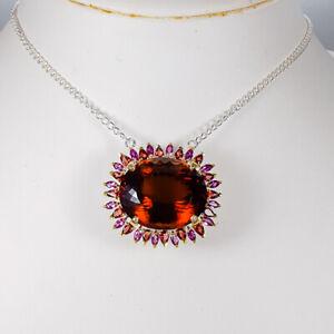 Cognac Quartz Necklace 925 Sterling Silver Handmade45ct+ Length 18.5/N04226