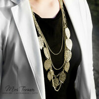Womens Bohemian Leaves Multilayer Strand Pendant Long Chain Necklace Jewelry