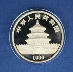 1990 China 1oz Silver Panda 10 Yuan coin in Capsule with COA