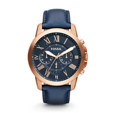 Fossil Grant Chronograph Watch for Men Navy Blue Leather | Rose Gold