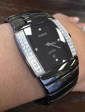 NWOT Unisex Rado Sintra Super Jubile R13617712 Black Ceramic .50ct Diamond Watch