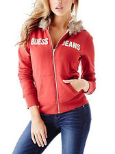 WOMAN BEAUTIFUL RED BRANDED FAUX FUR HOODIE SIZE M