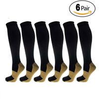 6 PACK Copper Infused Compression Sport Socks 20-30mmHg Graduated Men Women