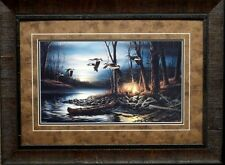 Terry Redlin Evening Glow Goose Camping Art Print-Framed