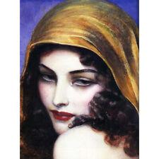Benda Portrait Woman Headscarf Painting XL Wall Art Canvas Print