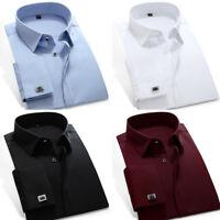 Mens Dress Shirts Luxury French Cuff With Cufflinks Slim Business Camisas C6332