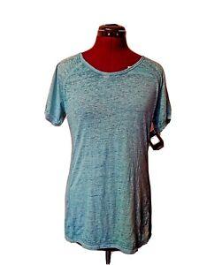 Reebok Womens Top T Shirt Size Small Sport Open Back Sugar Wash Capri Breeze