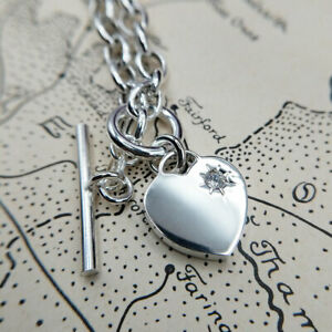 Heart Charm Belcher Necklace in Solid Sterling Silver