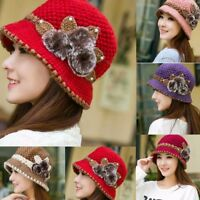 Fashion Women Lady Winter Warm Crochet Knitted Flowers Decorated Ears Hat