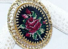 Vintage Needlepoint Embroidery Fabric Pink Rose on Black Cameo Prong Set Brooch