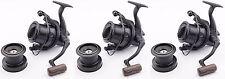 3x Wychwood Riot Big Pit Matt Black 65S Carp Fishing Distance Reel + Spare Spool