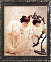 Doll and Mirror Tom Kelley Mahogany Framed Picture Art Print (20x24)