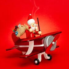 SIKORA RM-A01 PILOT Wooden Christmas Decoration Incense Smoker Santa in Biplane
