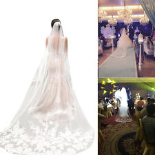 3m White Beautiful Cathedral Length Lace Edge Wedding Bridal Veil With Comb