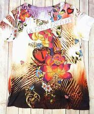 Dressbarn Womens Size Large L Floral  White Orange Top Short Sleeve Blouse shirt