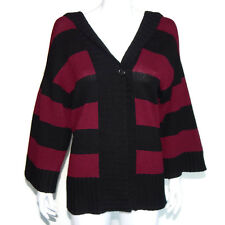 THEORY 100% Cashmere Black Red Striped Cardigan Hooded Sweater size S/P /0278