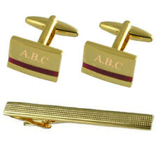 Purple Amethyst Gold Cufflinks Engraved Gift Set With Tie Clip 65mm