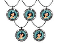 5 Disney Princess JASMINE Aladdin 3D Bottle Cap Necklace Birthday Party Favors