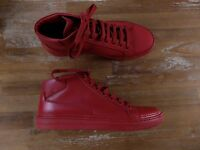 PRADA sneakers high top red leather Italy authentic Size 10 US / 43 EU / 9 UK