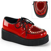 Demonia CREEPER-108 Red Platform Punk Rockabilly Heart Cutout Spikes Oxford Shoe