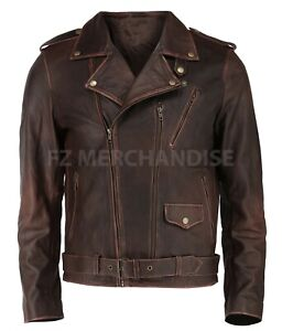 Mens Biker Motorcycle Vintage Distressed Cafe Racer Cow Hide Leather Jacket