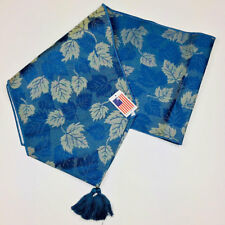 """Maple Leaf Blue Fall Autumn 72"""" Tapestry Table Runner"""