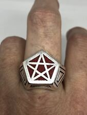 Vintage Red Coral Pentacle Mens Ring Size 5.75