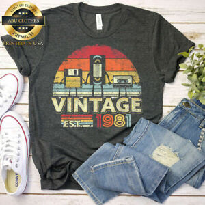 1981 Vintage 40th Birthday Gift Funny Music Tech T-shirts, Born In 1981 Funny