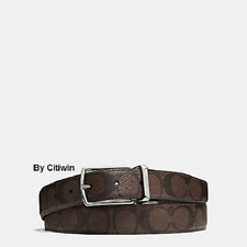New Coach F64825 Men Modern Harness Cut-To-Size Reversible Belt With Box Brown