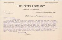 U.S. THE NEWS COMPANY, Printers and Binders 1901 Kansas Spoiled Letter Ref 45259