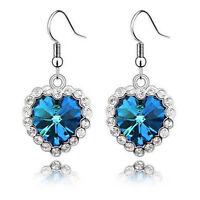 Fashion Women Plated Silver Ear Hook Blue Crystal Rhinestone Earrings Stud Hook