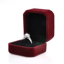 Chic Claret Velvet Engagement Wedding Earrings Rings Pendant Jewelry Display Box