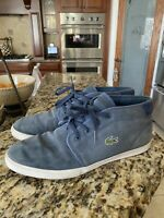Lacoste Mens Size 12 Ampthill COL Suede Sneaker Shoe, Light Blue