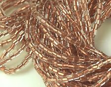 "Czech 2-Cut  Glass Seed Beads Size 11/0 "" COPPER LINED CRYSTAL  "" 1 Hank"
