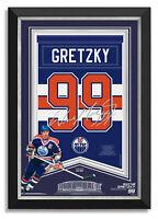 Wayne Gretzky Facsimile Signed Edmonton Oilers Jersey Arena Banner Museum Frame