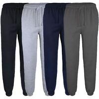 Mens Plain Tracksuit Trousers Fleece Jogging Sweatpants Cuffed Bottoms Size S-XL