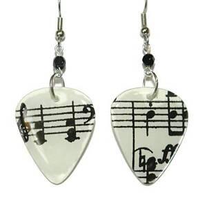 BLACK & WHITE MUSIC NOTES GUITAR PICK DANGLE EARRINGS (GP042)