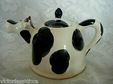 Collectible Black & White Cow Shaped Ceramic Teapot - Really Cute!