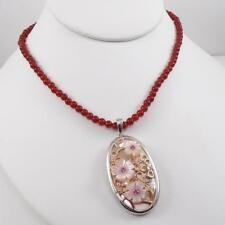 "Sterling Silver Red Carnelian Bead MOP Pendant Flower Necklace 16"" LDF3"