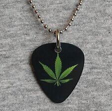Metal Guitar Pick Necklace POT LEAF marijuana weed dope 420 cannabis medical