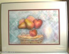 "Original Water Color Painting ""Levitating Fruit"" Artist Signed 29""x 22"" Framed"