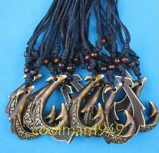 6pcs New Zealand Maori bone fishhook pendant necklace W144