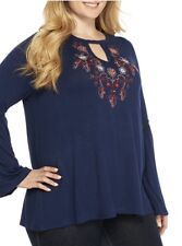 New ND New Directions Women's Sz 2X Embroidered Floral Blue Blouse Crochet NWT