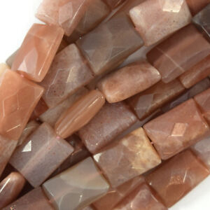 """18mm faceted sunstone rectangle beads 15"""" strand"""